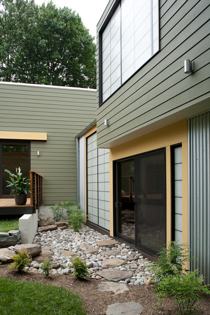 Faux Rock Siding Exterior Contemporary with Boulders Corrugated Metal Frosted