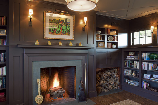 Firewood Holder Living Room Traditional with Built in Bookshelf Ceiling Detail