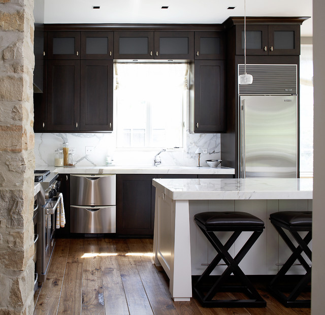 Fisher and Paykel Refrigerator Kitchen Contemporary with Breakfast Bar Ceiling Lighting