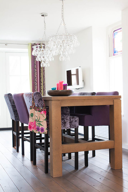 Flameless Taper Candles Dining Room Contemporary with Bright Colors Crushed Velvet