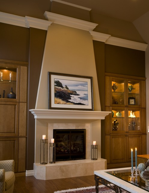 Flameless Taper Candles Living Room Traditional with Accent Wall Brown Walls