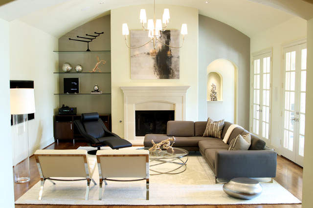Flanigan Furniture Living Room Contemporary with Alcove Black Leather Chandelier