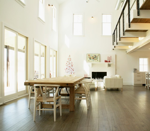 Floating Vinyl Plank Flooring Dining Room Farmhouse with Balcony Beams Cable Railing