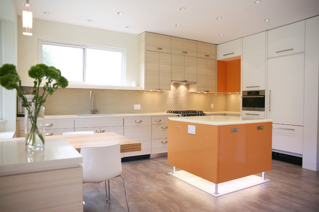 Floating Vinyl Plank Flooring Kitchen Contemporary with Backlighting Cabinet Front Refrigerator