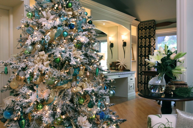 Flocked Tree Living Room Transitional with Blue White Living Room