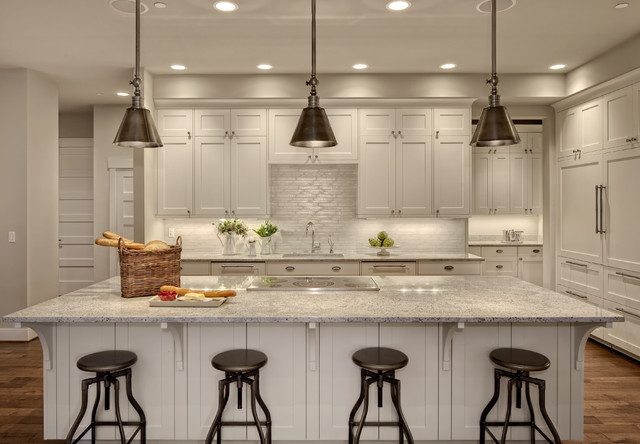 Flood Vents Kitchen Transitional with Double Dishwasher Induction Cooktop