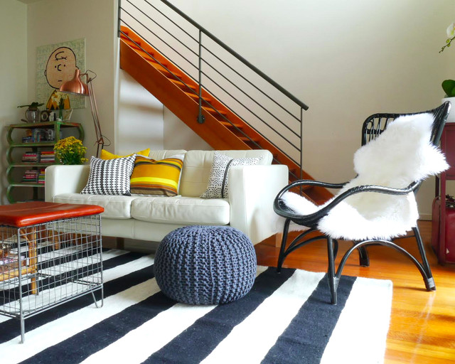 Floor Pouf Living Room Eclectic with Black and White Geometric
