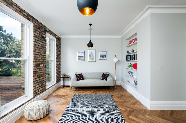 floor pouf Living Room Scandinavian with Black and White Geometric