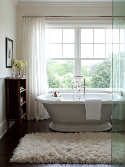 Fluffy Rugs Bathroom Transitional with Antique Case Beadboard Wainscoting