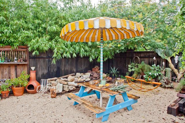 Foldable Picnic Table Patio Eclectic with Bench Boulders Gravel Gravel