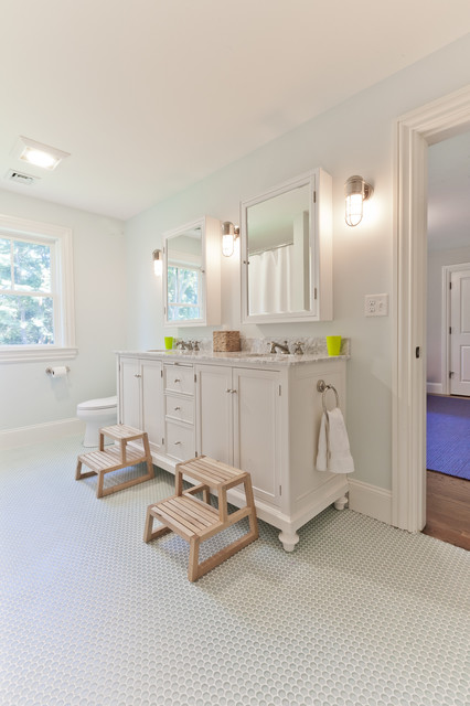 Foldable Step Stool Bathroom Traditional with Doorway Double Sinks Medicine