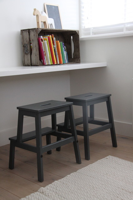 Foldable Step Stool Kids Contemporary with Blinds Books Boys Room
