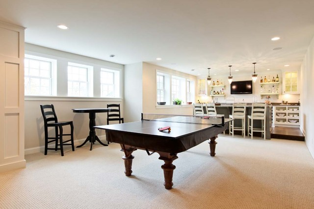 Folding Ping Pong Table Basement Traditional with Bar Area Baseboards Cafe