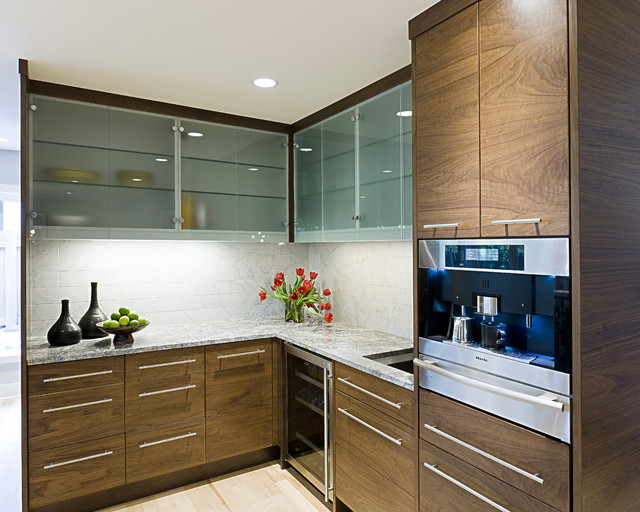 Frameless Glasses Kitchen Contemporary with Cafe Coffee Machine Flush