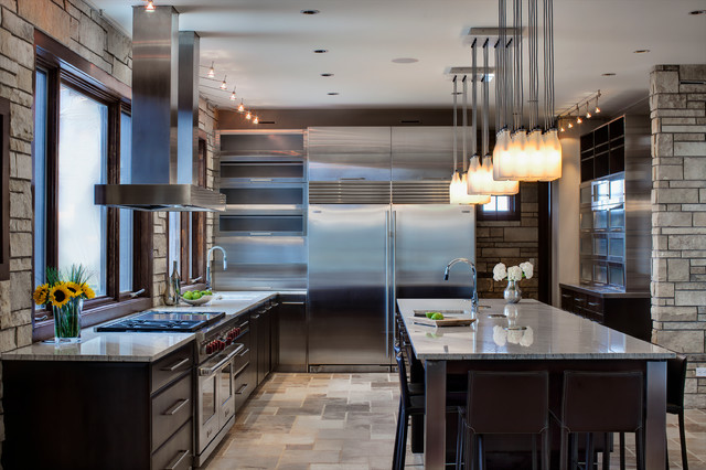 frigidaire side by side Kitchen Contemporary with 2nd home kitchen brown