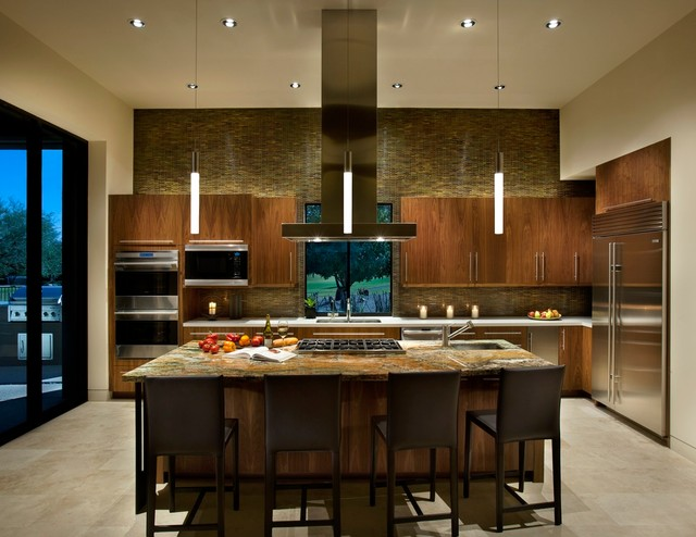 Frigidaire Side by Side Kitchen Modern with Accent Wall High Ceiling