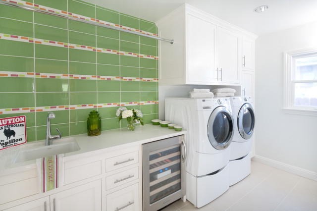 Frigidaire Side by Side Laundry Room Transitional with Clothing Rod Dryer Green