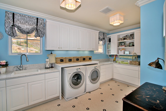 Front Loader Washer and Dryer Laundry Room Contemporary with Blue Wall Ceiling Lighting