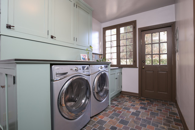 Front Loader Washer and Dryer Laundry Room Traditional with Basalt Counter Custom Sink