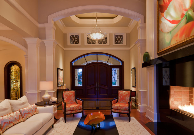 Furniture Stores Naples Fl Entry Transitional with Arched Window Beige Column