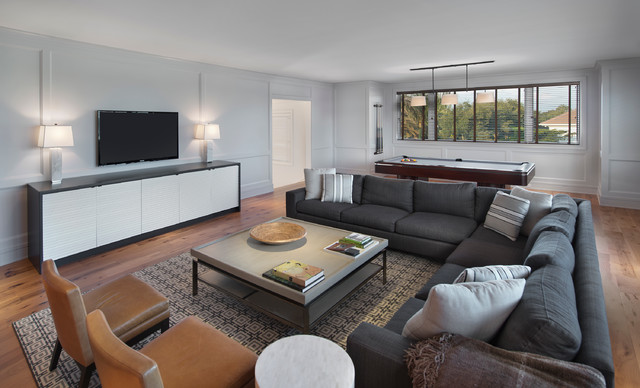 furniture stores naples fl Family Room Contemporary with area rug Black sofa