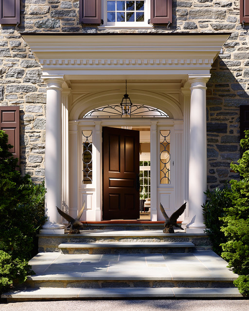 fypon Entry Traditional with arch window carved covered