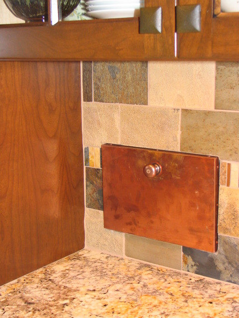 garbage chute Kitchen Traditional with Arts and Crafts Craftsman