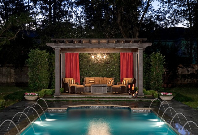 Gazebo Chandelier Pool Traditional with Covered Patio Outdoor Chandelier