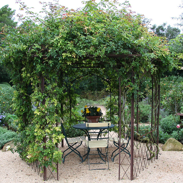 gazebo replacement canopy Patio Shabby-chic with bistro table and chairs