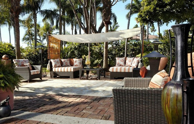 Gazebo Replacement Canopy Patio Tropical with Awning Basketweave Pattern Brick1
