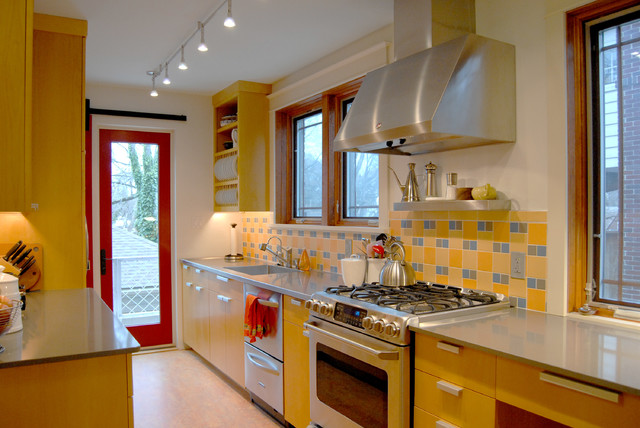 Ge Cooktop Kitchen Contemporary with Colorful Galley Kitchen Gray