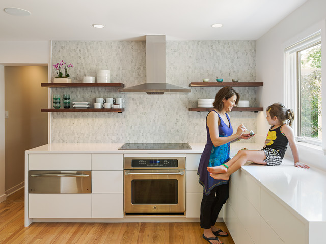 Ge Cooktop Kitchen Contemporary with Open Shelves Recessed Lighting