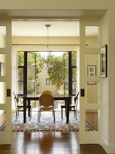 Ge Profile French Door Refrigerator Dining Room Transitional with Area Rug Baseboards Breakfast
