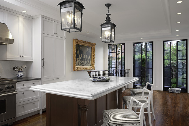 Ge Profile French Door Refrigerator Kitchen Traditional with Black Counter Black Lanterns