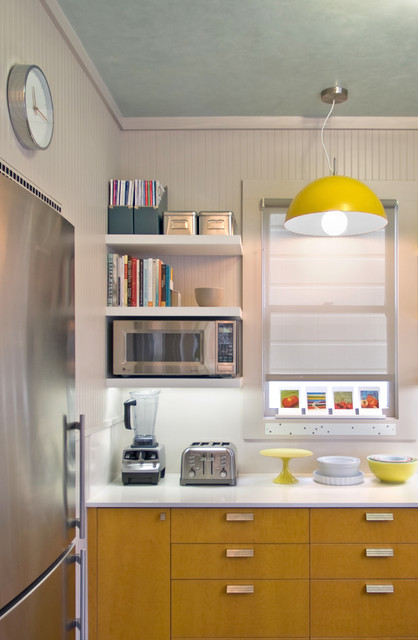 Ge Profile Spacemaker Microwave Kitchen Contemporary with Beadboard Wall Ceiling Treatment