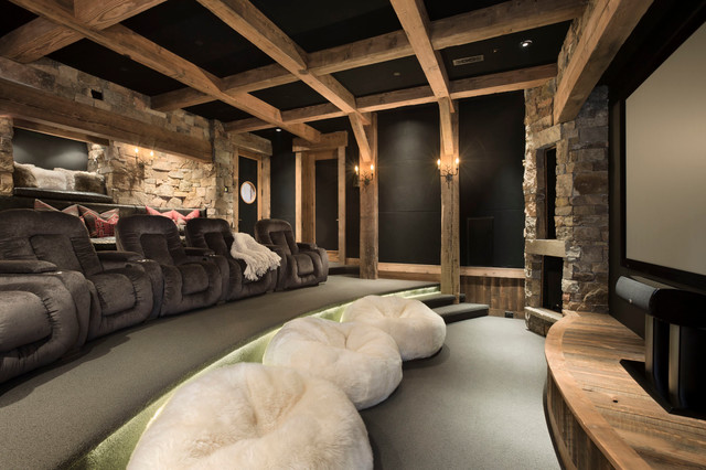 Giant Bean Bag Chairs Home Theater Rustic with Black Wall Built in Bench