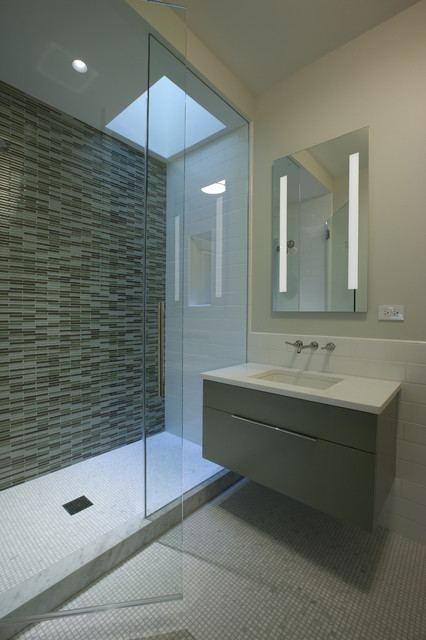 Glacier Bay Vanity Bathroom Contemporary with Floating Sink Glass Shower