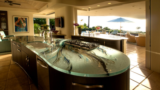 Gladiator Refrigerator Kitchen Contemporary with Artistic Glass Glass Countertop