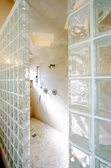 Glass Block Basement Windows Bathroom Contemporary with Bench in Shower Built In