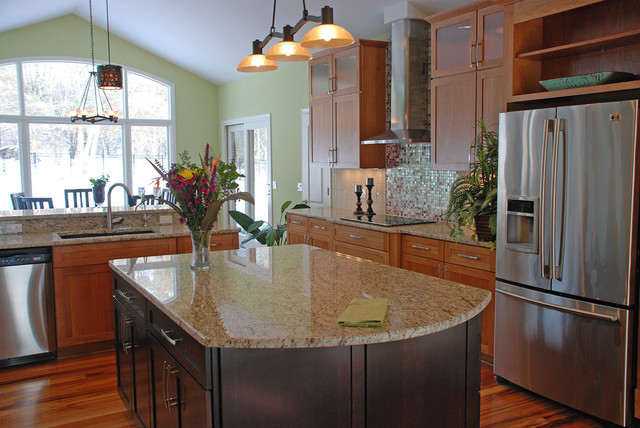 Glass Icicle Ornaments Kitchen Contemporary with Appliances Backsplash Double Islands