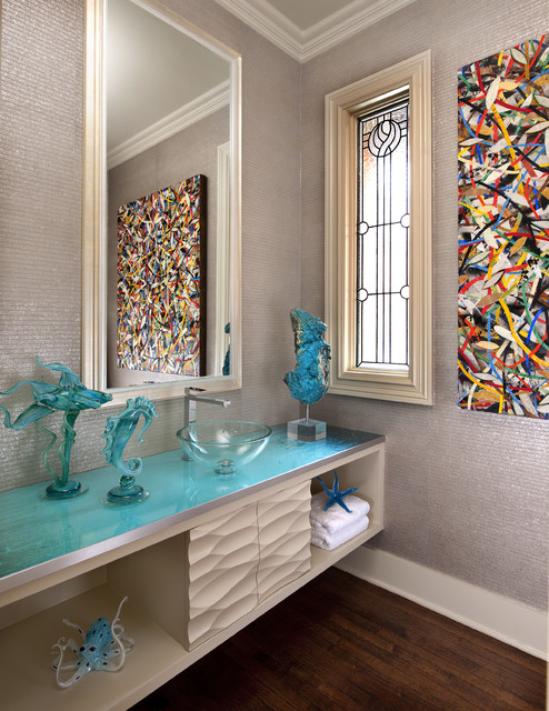 Glass Icicle Ornaments Powder Room Contemporary with Above Counter Sink Abstract