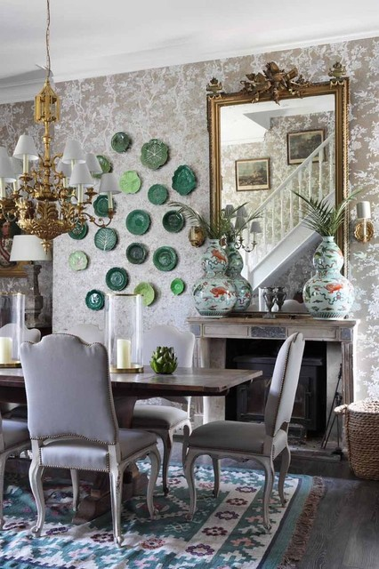 gold plated flatware Dining Room Shabby-chic with beige patterned wallpaper dark