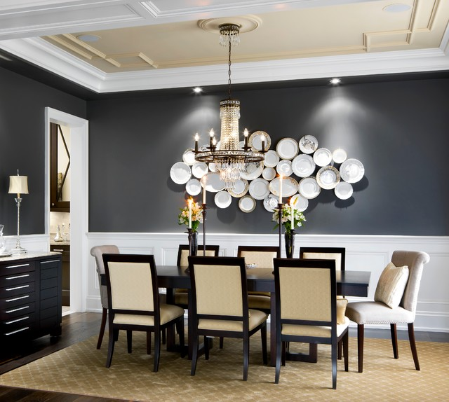Gold Plated Flatware Dining Room Traditional with Charcoal Wall Crystal Chandelier