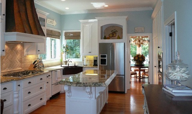 Granite Countertop Prices Kitchen Traditional with Blue Kitchen Walls Custom