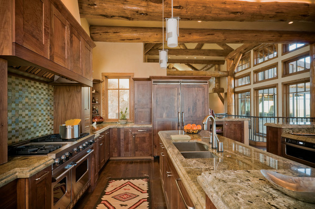 Granite Countertops Denver Kitchen Rustic with Beige Wall Boulder Cabinets