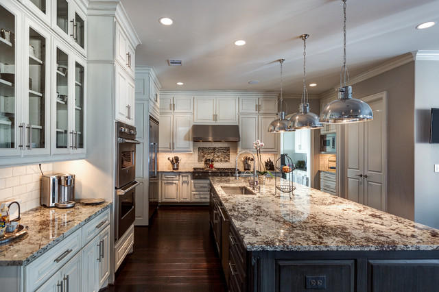 Granite Countertops Houston Kitchen Traditional with Ceiling Flush Cabinets Dark