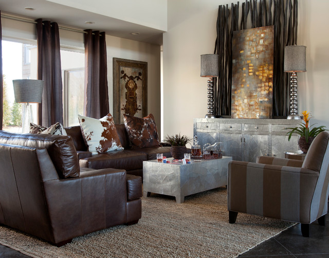 Grommets for Curtains Living Room Contemporary with Area Rug Brown Sofa