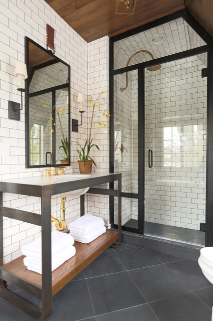 Grout Stain Bathroom Transitional with Black and White Bathroom