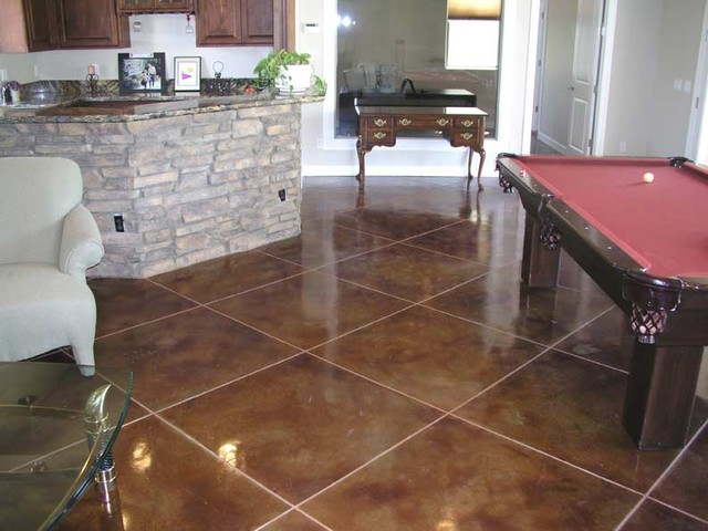 Grout Stain Family Room Traditional with Acid Stained Concrete Floor