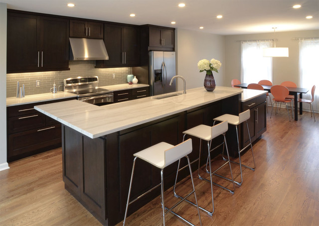 Grout Stain Kitchen Transitional with Counter Stools Dark Stained